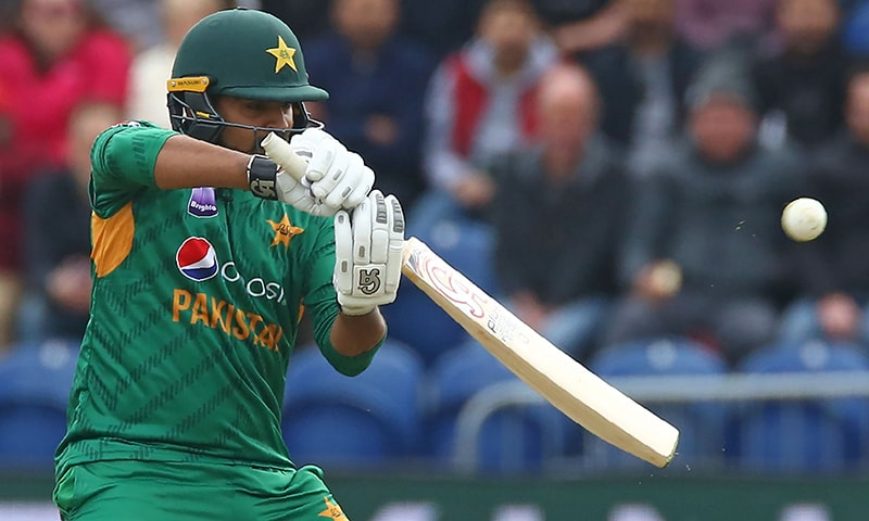 Haris Sohail hits a boundary during the international Twenty20 cricket match between England and Pakistan at Sophia Gardens in Cardiff. — AFP