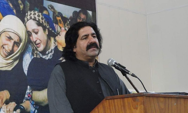An FIR was registered against MNA Ali Wazir and 11 activists of the Pashtun Tahaffuz Movement (PTM) at a police station in Mirali, North Waziristan tribal district, on Sunday for allegedly chanting slogans against the state and the country's armed forces. — Photo courtesy Ali Wazir Twitter