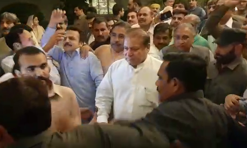 The former prime minister, who is heading back to the penitentiary, left his residence in Lahore after breaking his fast. — DawnNewsTV