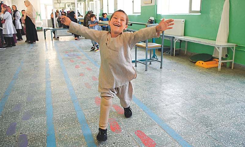 Watch Young Afghan amputee's joy at dancing on new leg