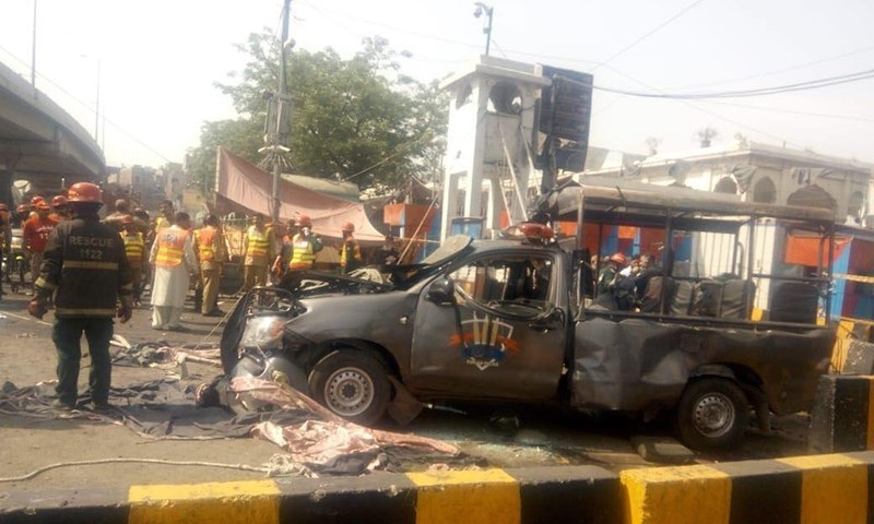A police vehicle badly damaged in the blast near Data Darbar in Lahore. — Photo courtesy Punjab Police