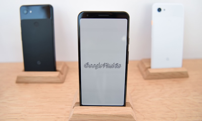 New Google Pixel 3a phones are displayed during the Google I/O conference at Shoreline Amphitheatre in Mountain View, California on May 7, 2019. — AFP