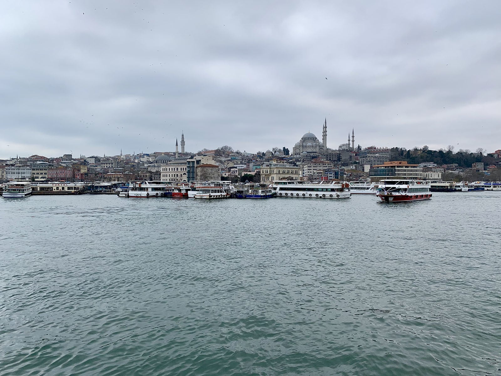 View of the historical Fatih district on the ferry from Karaköy to Balat.