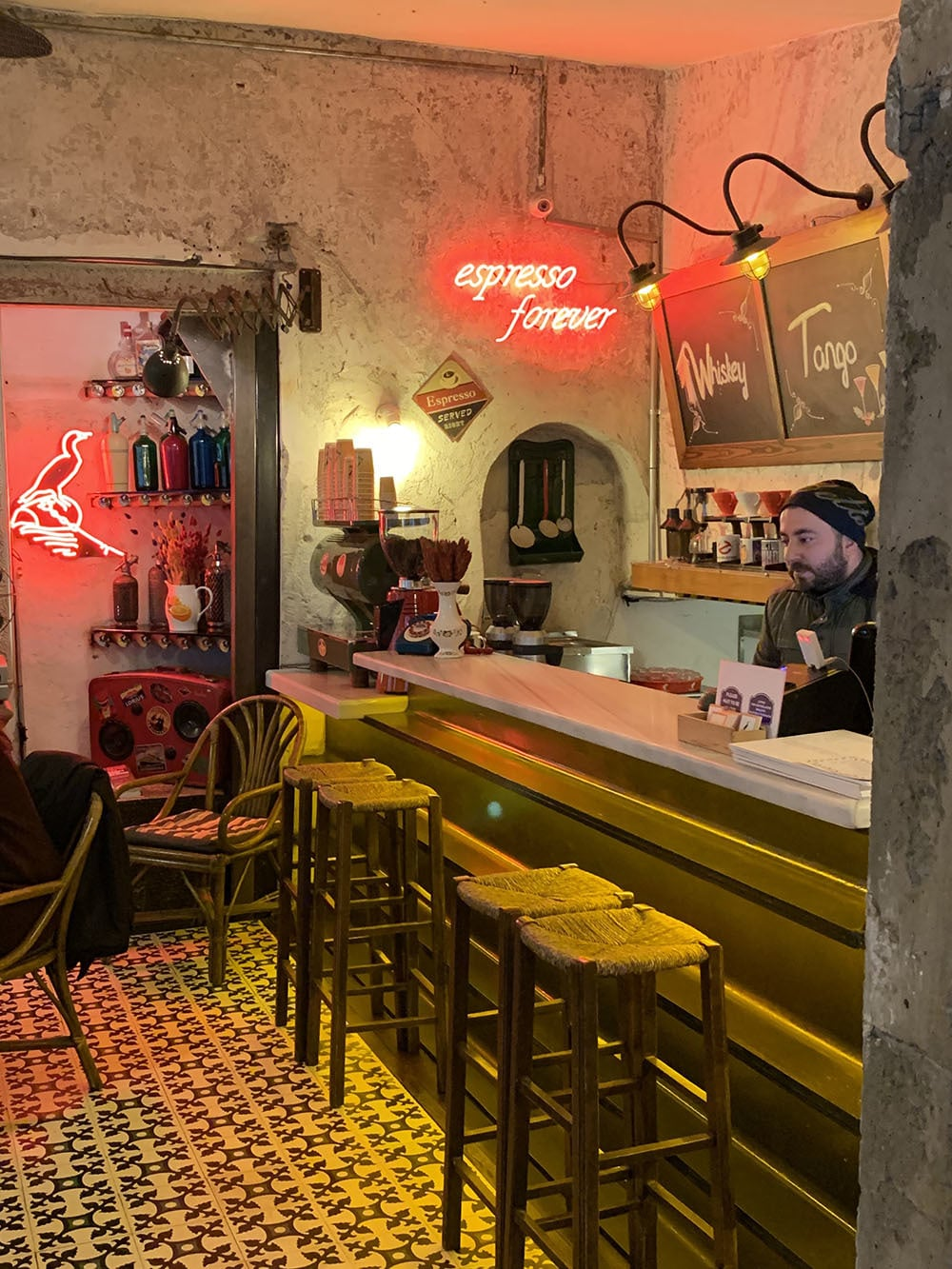 Inside the Instagram-famous Karabatak café in Karaköy.