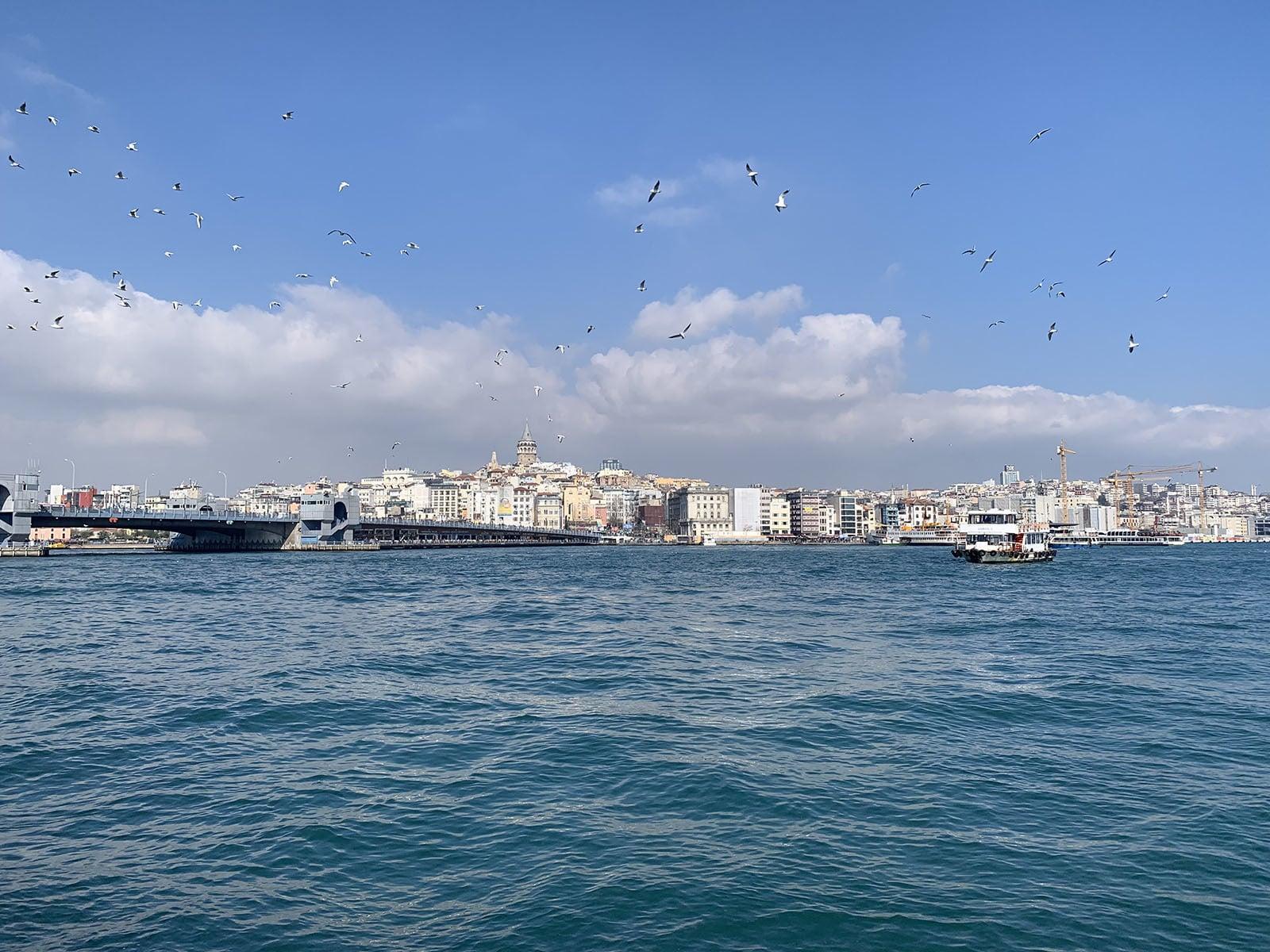 The Beyoğlu skyline seen from the bustling Eminönü harbourside.