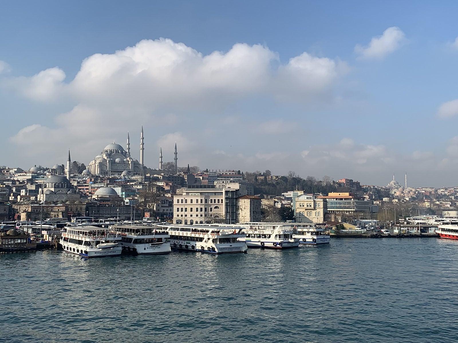 Süleymaniye Mosque seen from the Galata Bridge.
