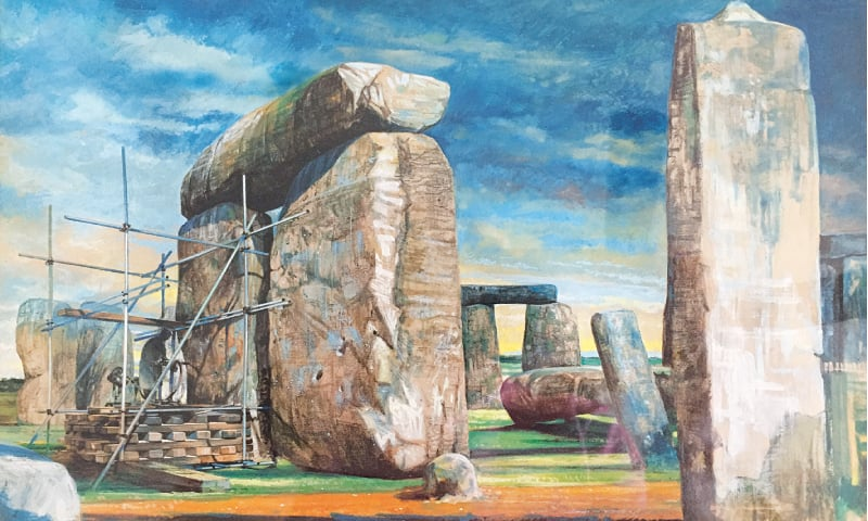LONDON: Archaeological excavations take place in Stonehenge in 1958 in this watercolour image obtained on Tuesday by English Heritage.—Reuters
