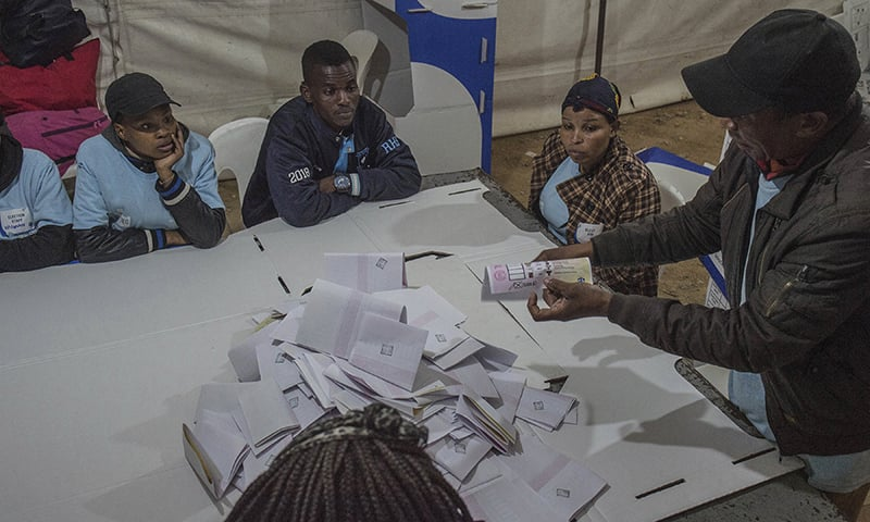 Vote counting begins at a polling station in Alexandra Township near Johannesburg on Wednesday, May 8, 2019. — AP
