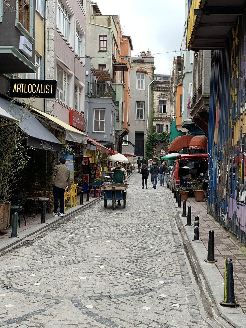Small buildings — most appearing to be three-storey — dot Balat's streets that slant upwards.