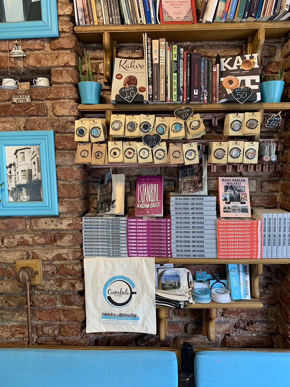 The blue-painted Cumbali Kahve coffee shop is steps away from the Ahrida Synagogue in Balat.