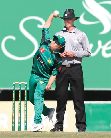 PAKISTAN'S Sana Mir captures her 146th wicket in the 117th match of her ODI career, against South Africa at Senwes Park in Potchefstroom on Thursday, to join Anisa Mohammed of West Indies and Australia's Lisa Sthalekar on the top of the wicket-takers list for spinners in women's ODI cricket. South Africa beat Pakistan by eight wickets. —Courtesy PCB