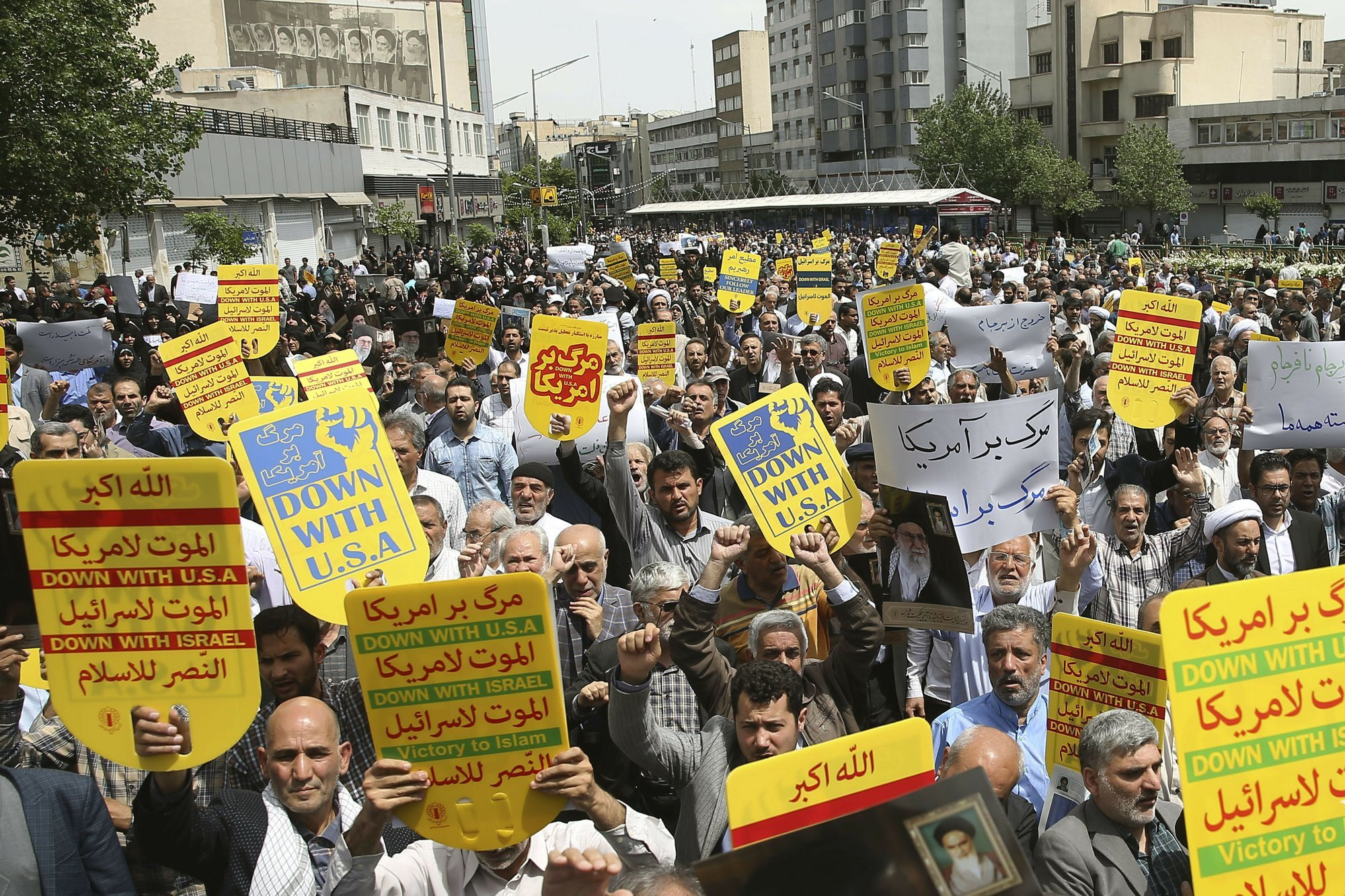 Worshippers chant slogans against the United States and Israel during a rally after Friday prayers in Tehran, Iran. — AP