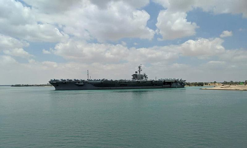 IS aircraft carrier the USS Abraham Lincoln is pictured while it travels through the Suez Canal in Egypt May 9, 2019 in this picture obtained from social media. — Reuters