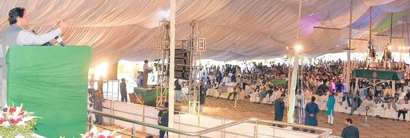 RAWALPINDI: Prime Minister Imran Khan addressing a gathering.—INP