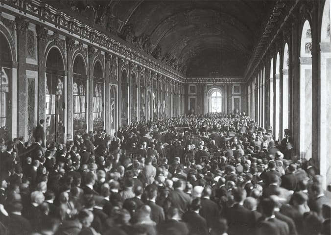 The Treaty of Versailles being signed at the Palace of Versailles