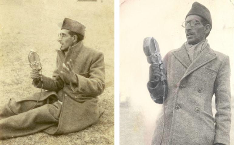 غلام رسول نازکی 1950ء میں سری نگر میں صدر راجندر پرساد کے کشتی جلسے کے موقعے پر براہ راست کمنٹری کرتے ہوئے— نازکی فیملی آرکائیوز