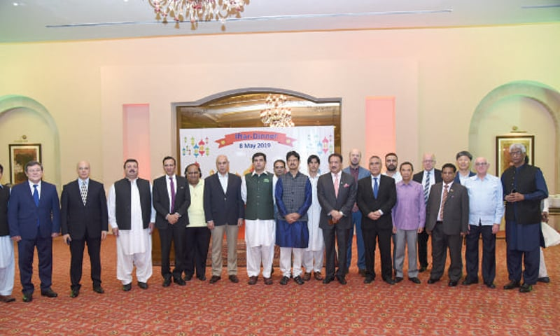 Bangladeshi High Commissioner Tarik Ahsan and guests at the Iftar dinner in Islamabad.