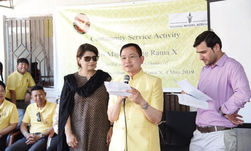 Thai Ambassador Pornpop Uampidhaya speaks to students of Mashal Model School in Bari Imam.