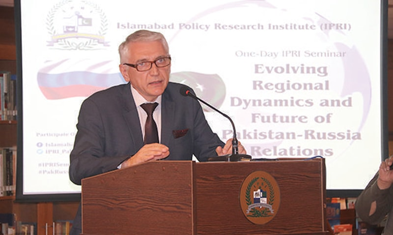 Counsellor at the Russian embassy Dr Sergei A. Baranov talks on Pakistan-Russia relations at the seminar in Islamabad.