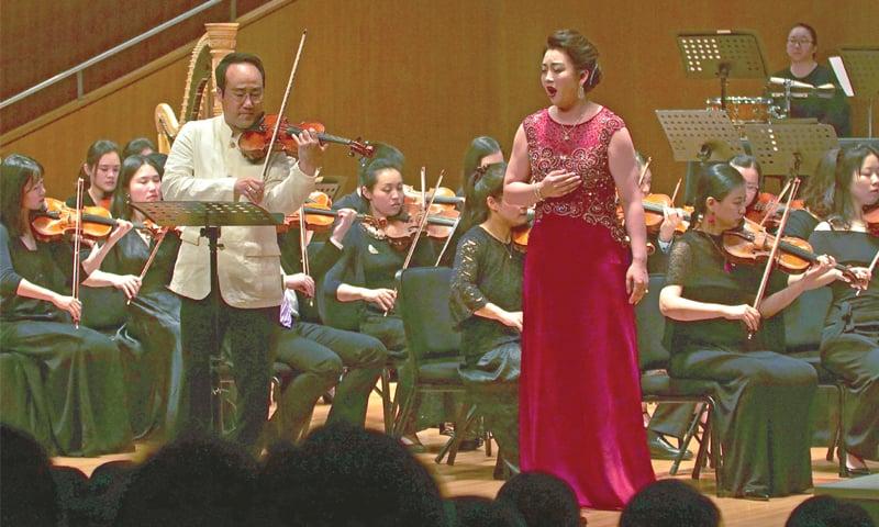 Shanghai: South Korean violinist Won Hyung Joon and his North Korean soprano partner, Kim Song Mi, perform at the Shanghai Oriental Arts Centre on Sunday.—AP