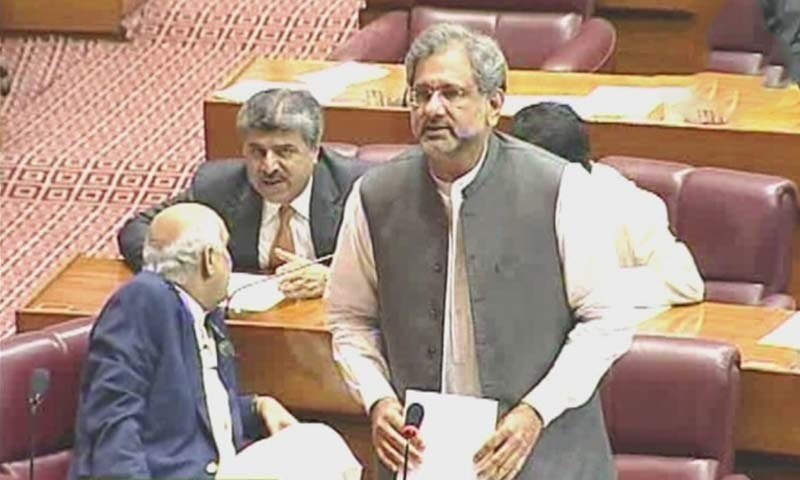 PML-N's Shahid Khaqan Abbasi speaks during Monday's National Assembly session. — DawnNewsTV