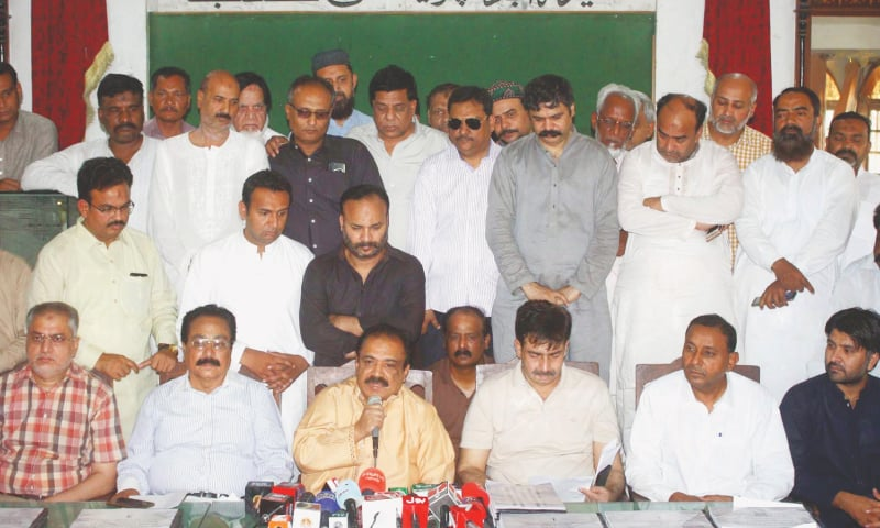 MQM-P parliamentary party leader in the Sindh Assembly Kanwar Naveed Jamil speaks at a press conference in Hyderabad on Monday.—Online