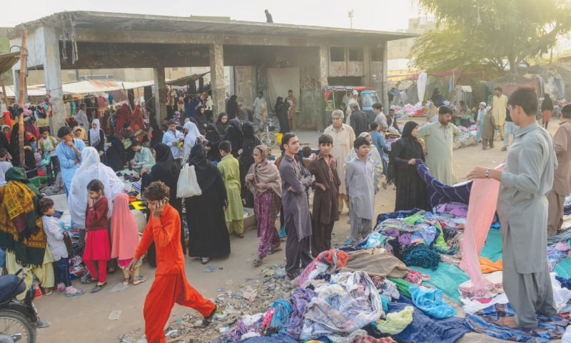 A THRIVING market has cropped up at the Nazimabad KCR station, as seen here in this file photo.—White Star