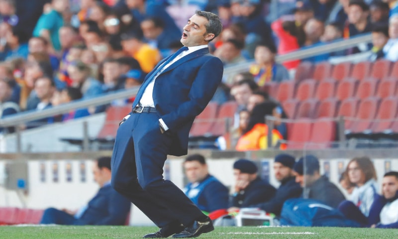 BARCELONA: Barcelona coach Ernesto Valverde reacts   during the La Liga match against Getafe at the Camp Nou.—Reuters