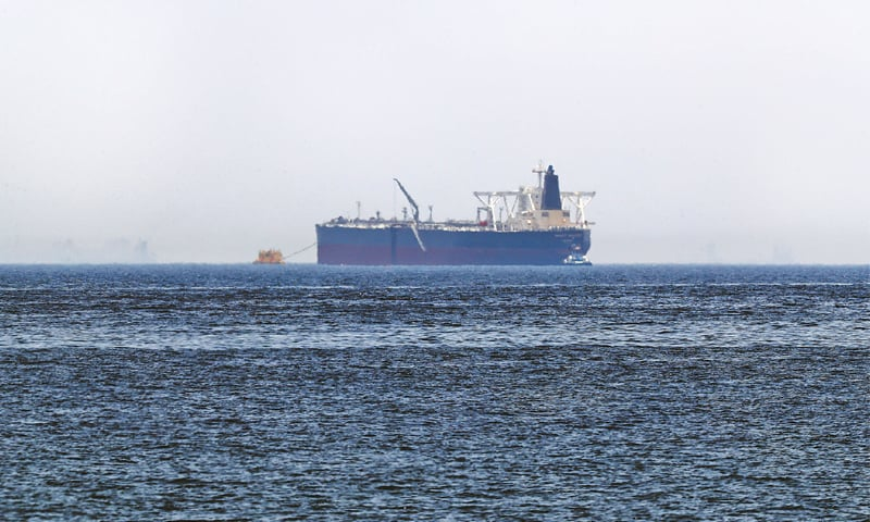 "the crude oil tanker, Amjad, which was one of two reported tankers that were damaged in mysterious ""sabotage attacks"", off the coast of the Gulf emirate of Fujairah.—AFP"