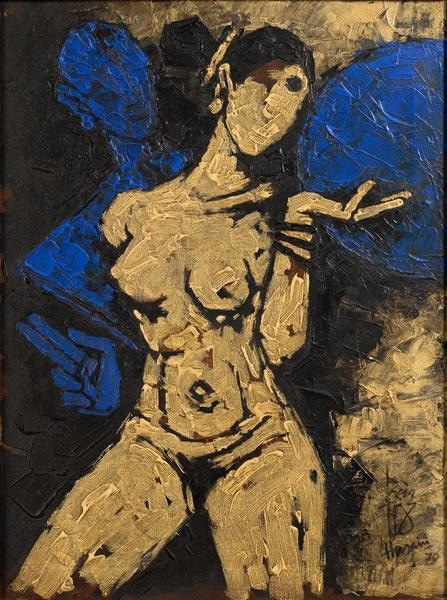 """Female nude"", 1979. Oil on canvas.—ArtNet"