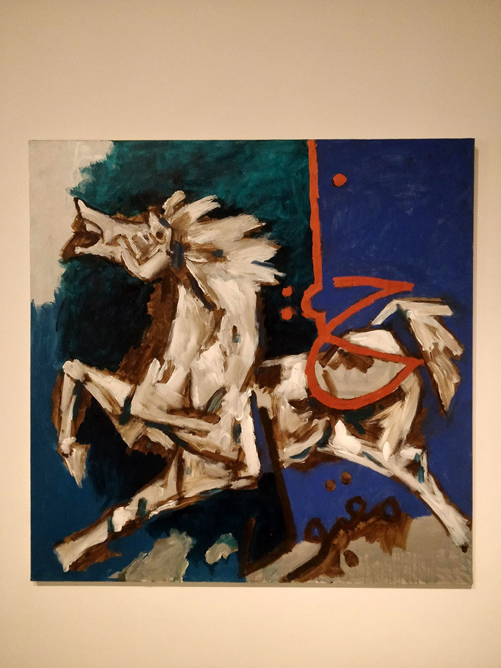 """Husain on a Horse"", 2010. Oil on canvas. Collection of Sheikh Hasan MA Al Thani, Doha.—Photo by author"