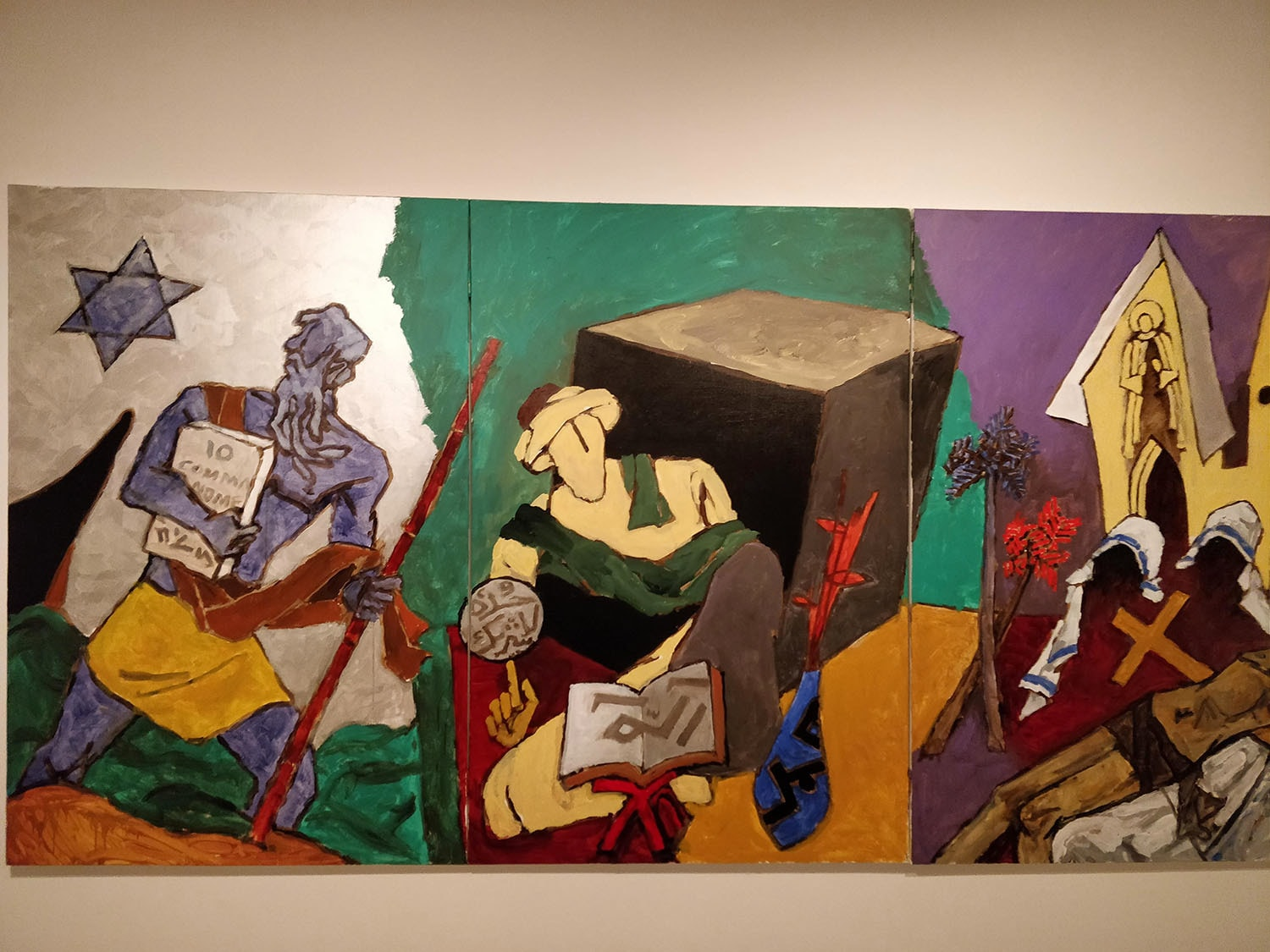 """""""World Religions"""", 2008. Acrylic on canvas. Qatar Foundation Collection Doha.—Photo by author"""