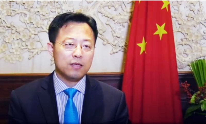Lijian Zhao, deputy chief of mission at Chinese Embassy in Islamabad, during an interview with UrduNews. — Image courtesy of UrduNews