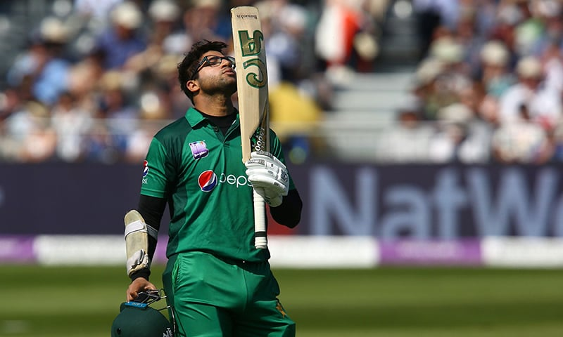 Imam-ul-Haq celebrates his century during the third One Day International (ODI) cricket match between England and Pakistan. — AFP