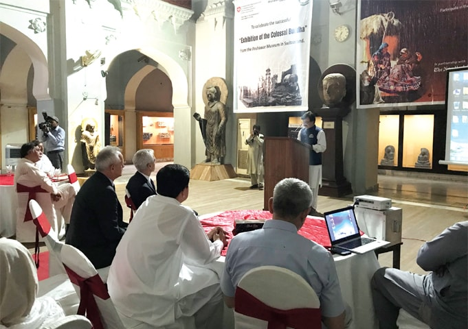 A view of the event held at the Peshawar Museum on Tuesday. — Dawn