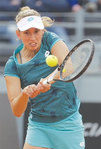 ROME: Belgium's Elise Mertens in action during her match against Venus Williams of the US at the Italian Open.—AP