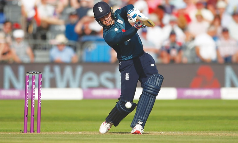 BRISTOL: England's Jason Roy drives the ball during his scintillating knock in the third One-Day International against Pakistan on Tuesday.—Reuters
