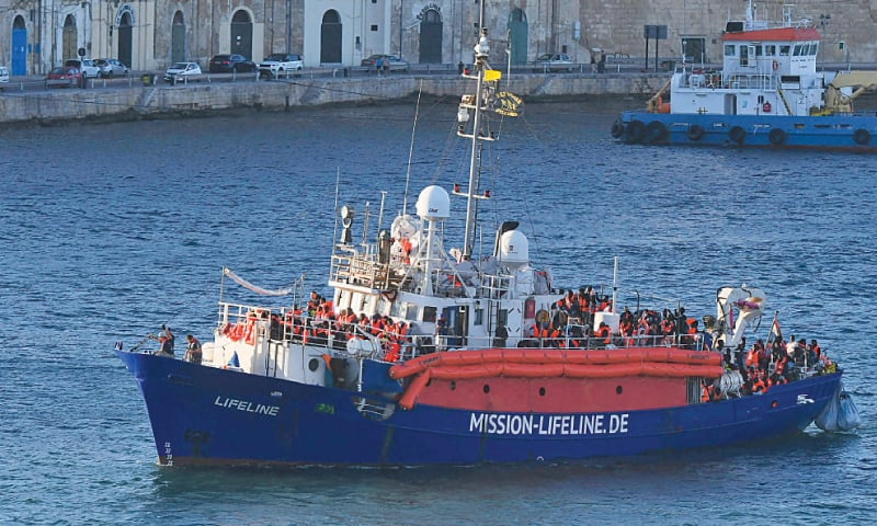 This June 27, 2018, file photo shows the ship operated by German aid group Mission Lifeline, carrying 234 migrants, approaching Malta's Valletta port after a journey of nearly a week.—AP