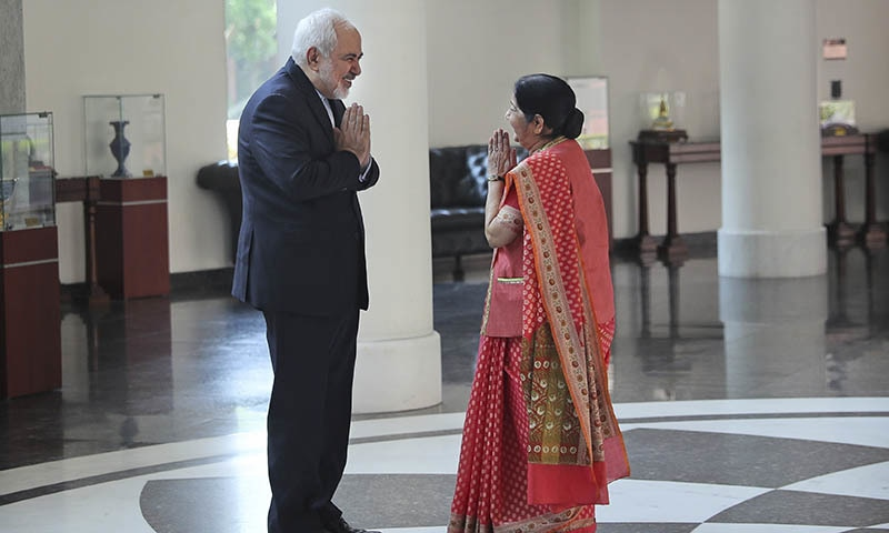 Iranian Foreign Minister Mohammad Javad Zarif, left, greets his Indian counterpart Sushma Swaraj before their meeting in New Delhi, India on Tuesday, May 14, 2019. — AP