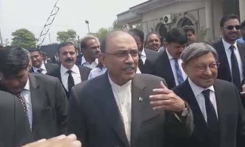 Former president Asif Ali Zardari outside the Islamabad High Court on Wednesday. — DawnNewsTV
