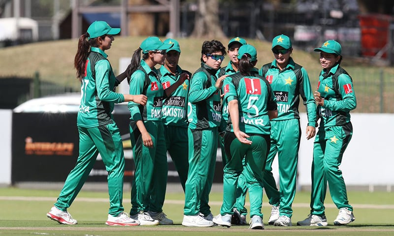 Pakistan Women celebrate a dismissal in the match against South Africa. — Photo courtesy: PCB/Twitter