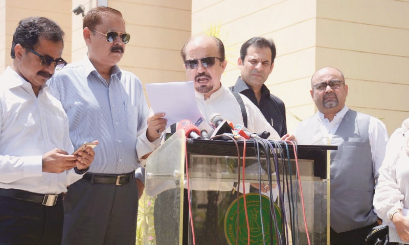 LEADER of the Opposition in the Sindh Assembly Firdous Shamim Naqvi speaks outside the house on Wednesday.—Online