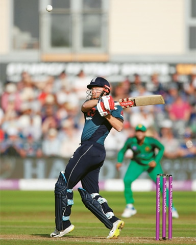 BRISTOL: England opener Jonny Bairstow plays a shot during the second ODI against Pakistan at the Bristol County Ground.—Reuters