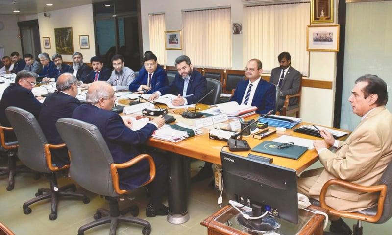 ISLAMABAD: National Accountability Bureau chairman Justice Javed Iqbal chairs an executive board meeting at NAB headquarters on Wednesday.—INP