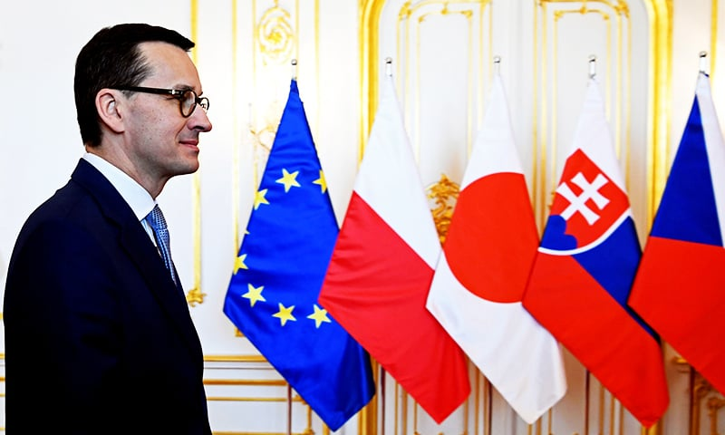 "Polish Prime Minister Mateusz Morawiecki condemns what he describes as a ""xenophobic act of aggression"" on the country's ambassador to Israel. — Reuters/File"