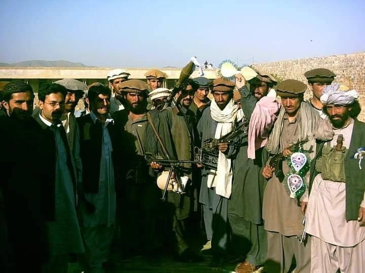 With Taliban militants in South Waziristan after a peace agreement between the Taliban and security forces.