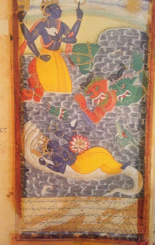 Vishnu killing the danavas Madhu and Kaitabha. From the Razmnama, the illustrated Persian translation of the Mahabharata in 1605.—Birla Academy of Art and Culture, Kolkata