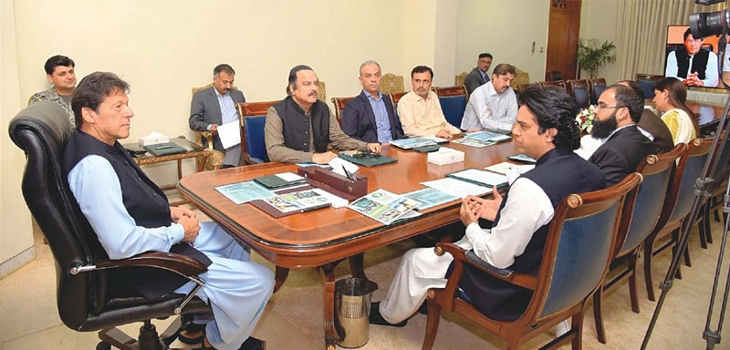 Prime Minister Imran Khan chairs a meeting on youth affairs at PM Office on Thursday.—PPI