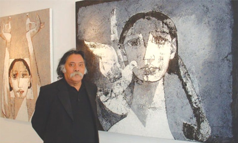 Jamil Naqsh pictured at an art gallery.