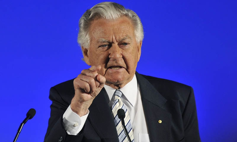 In this August 16, 2010 file photo, former Prime Minister Bob Hawke speaks at the Australian Labor Party's election campaign launch in Brisbane. — AP